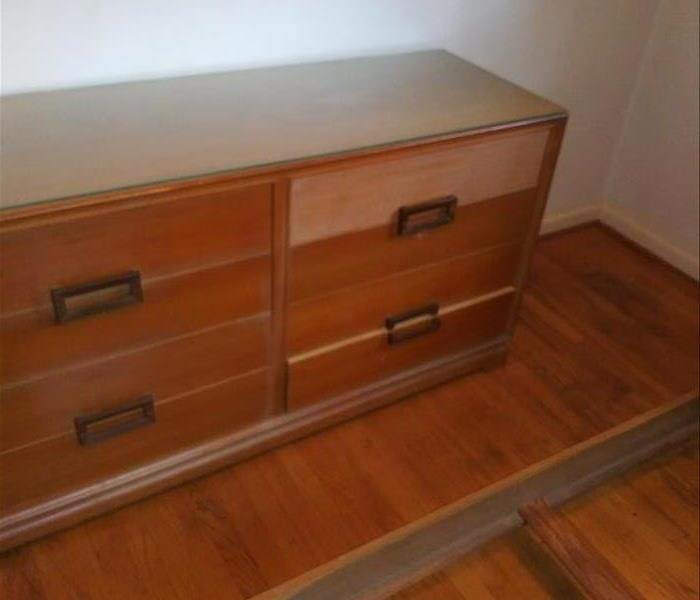 Dresser covered in nicotine, top drawer after cleaning