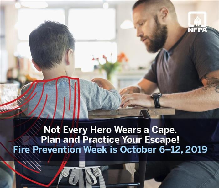 "Little boy sitting at table with man with caption ""Not Every Hero Wears a Cape, plan and practice your escape"""